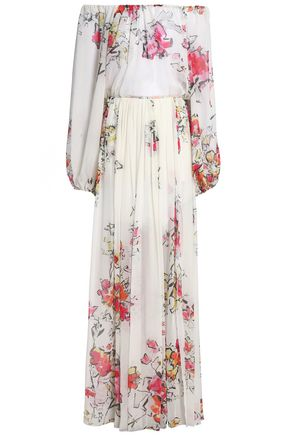 ZUHAIR MURAD Off-the-shoulder floral-print silk-chiffon gown