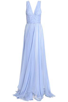ZUHAIR MURAD Pleated silk-chiffon gown
