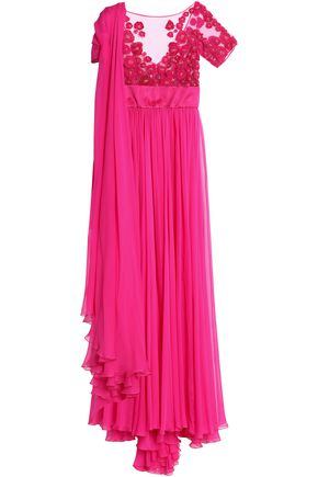 ZUHAIR MURAD Draped silk-blend chiffon and embellished tulle gown
