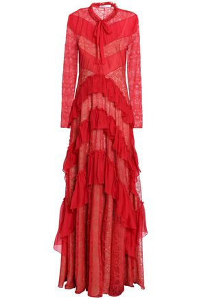 ZUHAIR MURAD Pussy-bow voile-paneled tiered Chantilly lace gown