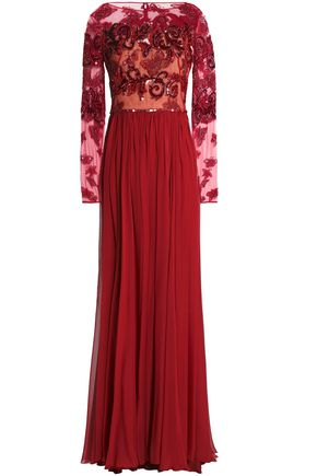 ZUHAIR MURAD Embellished tulle and pleated silk-blend chiffon gown