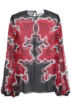 ZUHAIR MURAD Floral-print silk-organza blouse