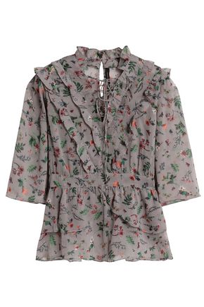 W118 by WALTER BAKER Lace-up crinkled floral-print georgette blouse