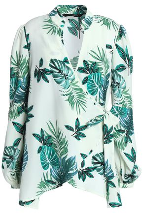 W118 by WALTER BAKER Vita printed crepe de chine wrap top