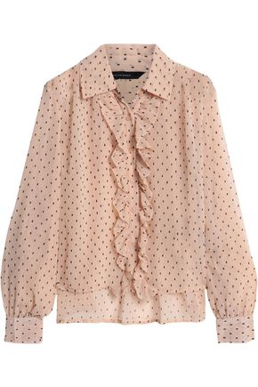 W118 by WALTER BAKER Mckenzie ruffled fil coupé chiffon blouse