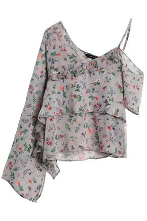 W118 by WALTER BAKER Asymmetric crinkled floral-print georgette blouse