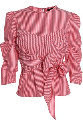 W118 by WALTER BAKER Tristian bow-embellished striped cotton-poplin blouse