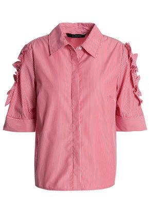 W118 by WALTER BAKER Yasmin ruffle-trimmed striped cotton-poplin shirt