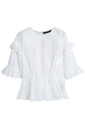 W118 by WALTER BAKER Marina ruffled embroidered cotton-gauze blouse