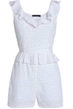 W118 by WALTER BAKER Pam ruffle-trimmed cutout broderie anglaise cotton playsuit