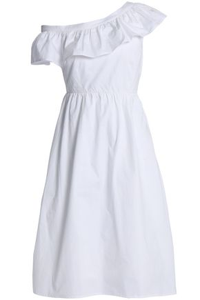 W118 by WALTER BAKER Eva one-shoulder ruffled cotton-poplin dress