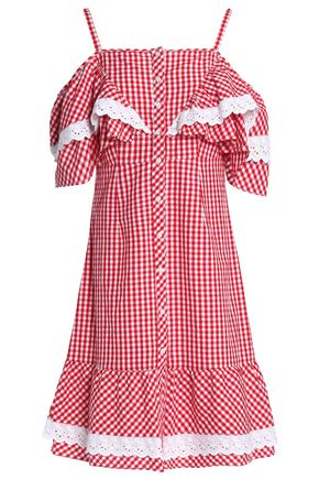 W118 by WALTER BAKER Carter cold-shoulder ruffled gingham cotton-poplin dress