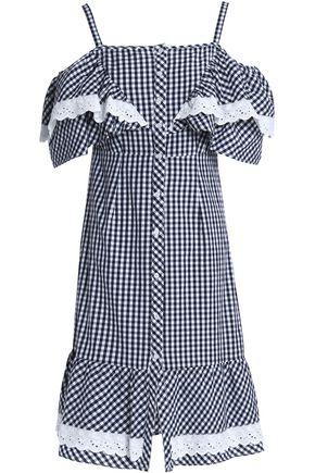 W118 by WALTER BAKER Carter cold-shoulder ruffled gingham cotton-poplin dress