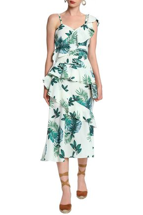 W118 by WALTER BAKER Inez ruffled printed crepe de chine midi dress