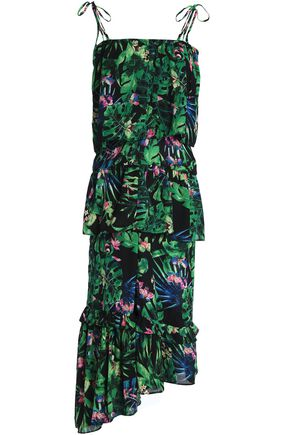 W118 by WALTER BAKER Tasha ruffled floral-print crepe de chine midi dress