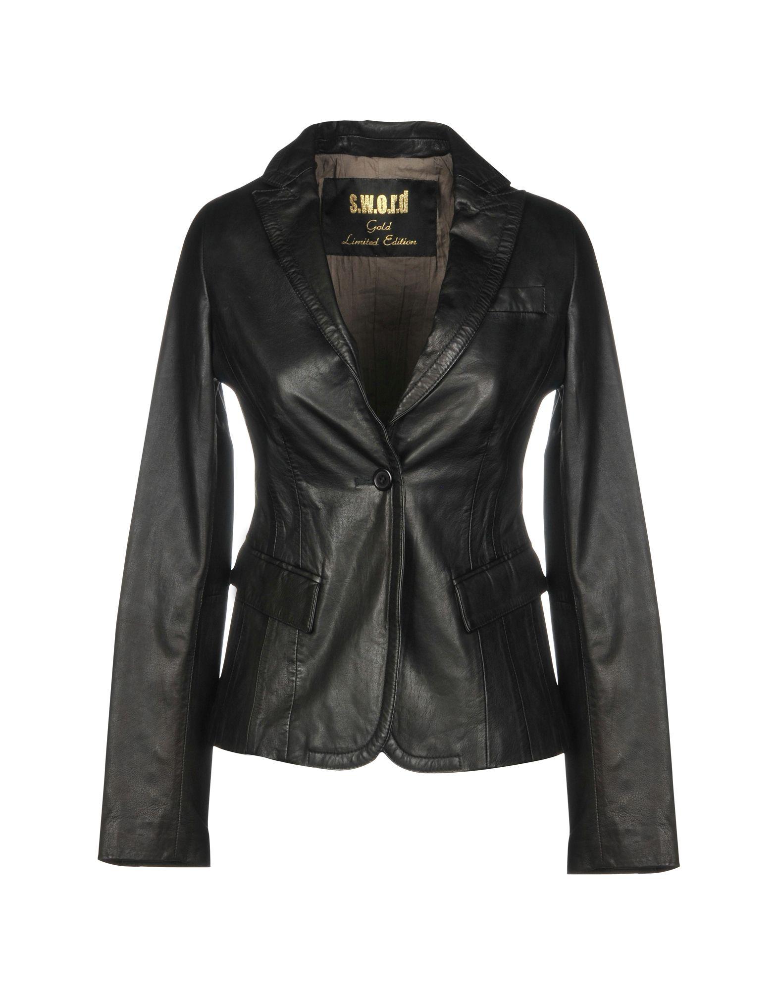 《送料無料》S.W.O.R.D. レディース テーラードジャケット ブラック 40 革 100%