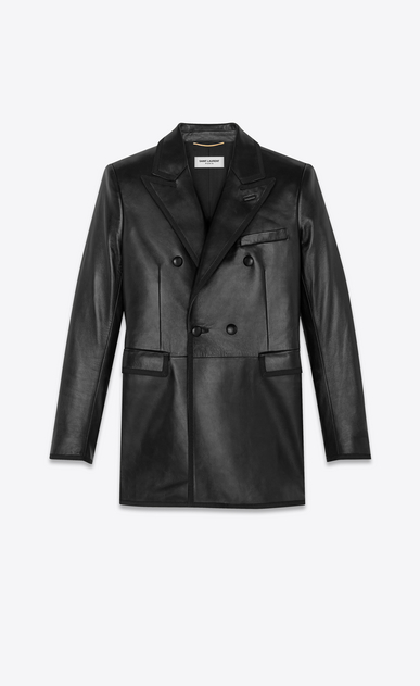 SAINT LAURENT Leather jacket Woman double breasted lambskin jacket a_V4