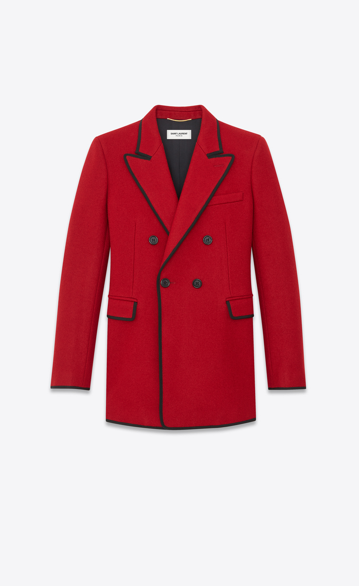 Double-Breasted Grosgrain-Trimmed Wool Blazer in Red