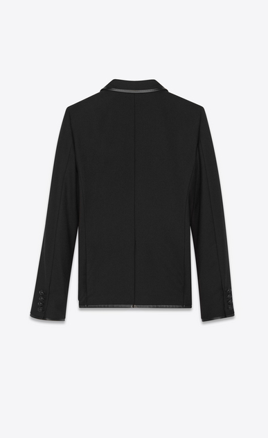 SAINT LAURENT Blazer Jacket Woman jacket in wool gabardine and leather bias b_V4