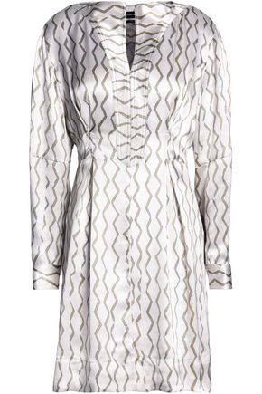 ISABEL MARANT Pleated printed silk-jacquard mini dress