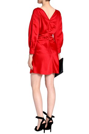 ISABEL MARANT Gathered satin-crepe mini dress