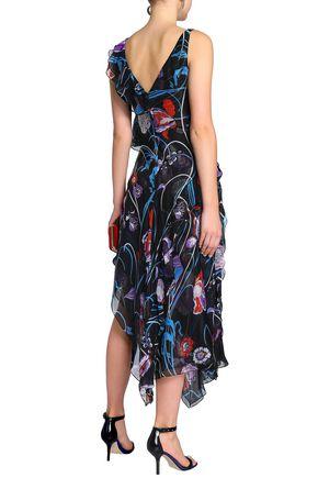 EMILIO PUCCI Asymmetric floral-print silk-organza midi dress