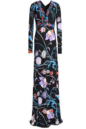 エミリオ プッチ 装飾付き フローラルプリント クレープ ロングドレス