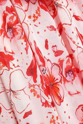 BADGLEY MISCHKA Cutout floral-print crepe de chine gown