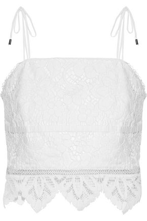 NICHOLAS Cropped cotton-blend corded lace top