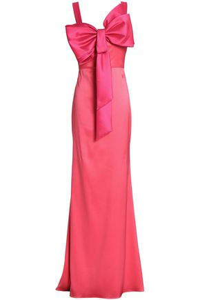 BADGLEY MISCHKA Bow-embellished two-tone satin-faille gown