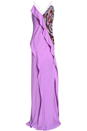 EMILIO PUCCI Embellished lace-paneled ruffled silk-crepe gown