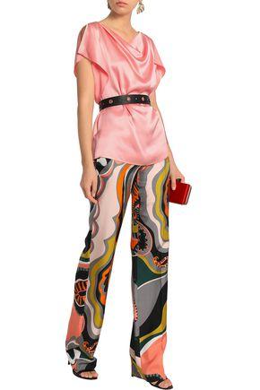 EMILIO PUCCI Draped satin-crepe blouse