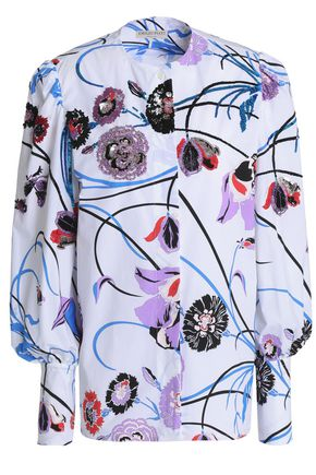 EMILIO PUCCI Embellished floral-print stretch-cotton poplin shirt