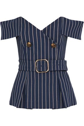 NICHOLAS Off-the-shoulder button-embellished pinstriped twill top