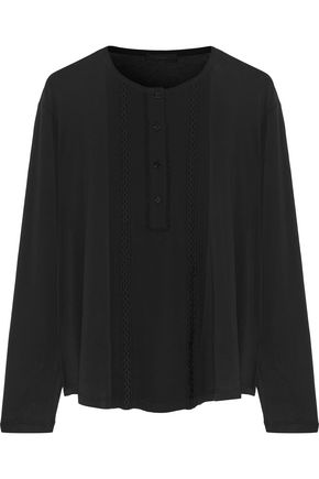 BELSTAFF Nora embellished chiffon-paneled cotton-blend jersey top