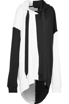 MARQUES' ALMEIDA Oversized two-tone cotton-blend jersey hooded sweatshirt