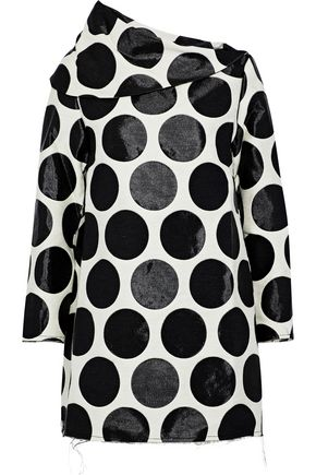 MARQUES' ALMEIDA Draped polka-dot jacquard mini dress