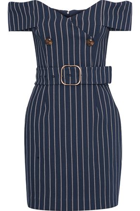 NICHOLAS Off-the-shoulder button-embellished pinstriped twill mini dress