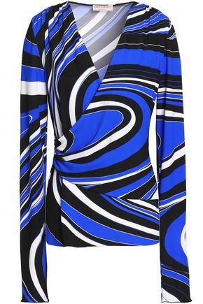 EMILIO PUCCI Wrap-effect printed stretch-jersey top