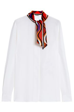 EMILIO PUCCI Printed-trimmed silk crepe de chine blouse