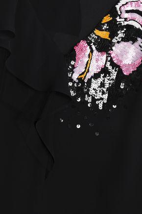 エミリオ プッチ チュールトリム 装飾付き シルククレープデシン トップス