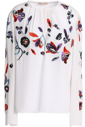 EMILIO PUCCI Gathered embroidered silk crepe de chine blouse