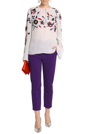 EMILIO PUCCI Gathered embroidered silk crepe de chine blouse