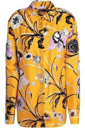EMILIO PUCCI Embellished floral-print silk-twill shirt