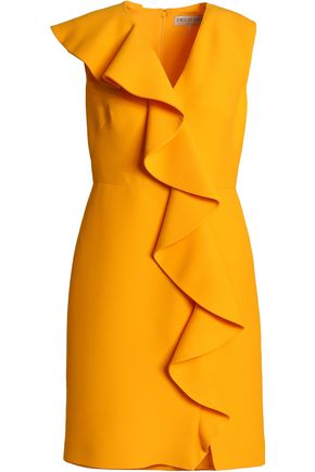 EMILIO PUCCI Ruffled wool and silk-blend crepe mini dress