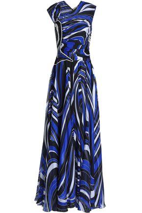エミリオ プッチ 装飾付き プリント シルクシフォン ロングドレス
