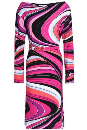 EMILIO PUCCI Belted printed stretch-jersey dress