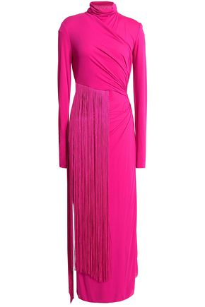 EMILIO PUCCI Fringed ruched stretch-jersey midi dress