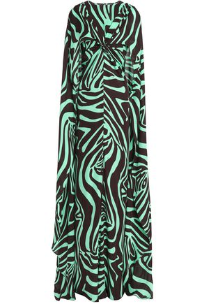 EMILIO PUCCI Cape-back printed silk-jersey gown