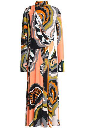EMILIO PUCCI Draped printed stretch-jersey turtleneck midi dress